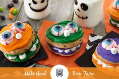 These Munching Monster Cookies are more fun than spooky, but they try! Bake these with your munchkins and then flaunt your fun-to-make cookies by posting a photo!