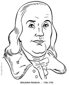Benjamin Franklin coloring pages; All things patriotic! Great for on the road