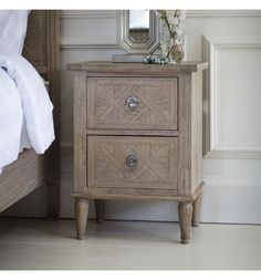 A stunning French style bedside table to match perfectly with our Camille French bed. Constructed from solid Mindy wood the Camille bedside is finished with a natural weathered appeal, ideal for modern or traditional homes. Furniture, Weathered Oak Bedside Tables, Bedside Lockers, Bedside Cabinet, Cosy Spaces, Wooden Bedside Table, French Style Bedside, Wooden Bedside Cabinets, Bedside Table