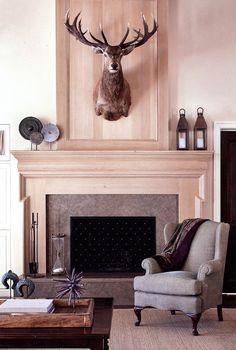 Contemporary Living Room; Taxidermy; Custom Fireplace; Design by Shelley Gordon Interior Design