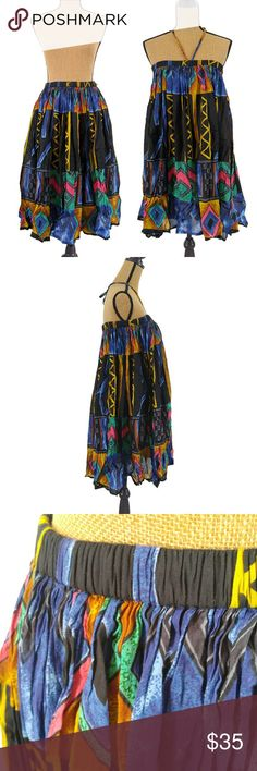 2 in 1 Skirt/Dress Beautiful colors and patterns, 100% cotton, elastic waist band with strawstring tie. Add a belt when wearing it as a dress for an additional summer look! Like-new Dresses