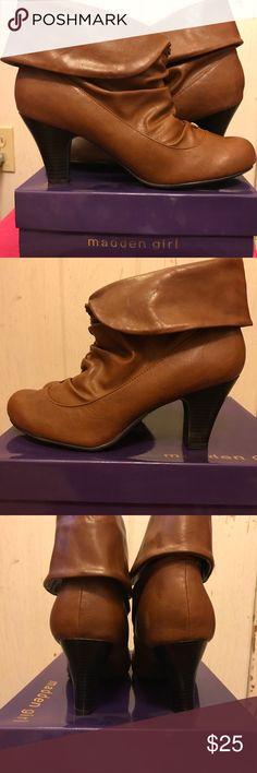 Madden girl size 11 cognac ankle  bootie heels. Brand new. Never been worn. Madden girl Singpour cognac ankle bootie heels. Madden Girl Shoes Ankle Boots & Booties
