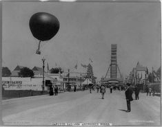 Captive balloon and Ferris wheel, World's Columbian Exposition, Chicago; 1893