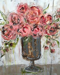 This piece sold at the Alpharetta Show ~ it's one of my favorite containers to paint! Wine And Canvas, Rose Art, Abstract Flowers, Acrylic Art, Painting Inspiration, Watercolor Paintings, Flower Paintings, Flower Art, Art Projects