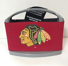 NHL Chicago Blackhawks Cool Six Cooler, Red  https://allstarsportsfan.com/product/nhl-chicago-blackhawks-cool-six-cooler-red/  One 9″ x 4 1/2″ x 7″ Cool Six Cooler Printed with Team Logo Removable Ice Pack and Neoprene Sleeve Keep Beverage Cool for Hours