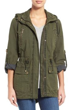 Levi's® Parachute Hooded Cotton Utility Jacket available at #Nordstrom