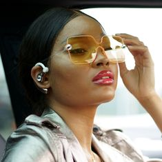 c079a839cd1 Becca Spring Set - Swarovski Crystal Bluetooth Headset and Rimless  Sunglasses (Yellow/Gold)
