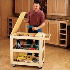 Mobile Tool Cabinet Woodworking Plan from WOOD Magazine Woodworking Workbench, Woodworking Workshop, Easy Woodworking Projects, Woodworking Furniture, Wood Projects, Woodworking Classes, Wood Furniture, Woodworking Jigsaw, Woodworking Supplies