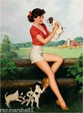 1940s Pin-Up Farm Girl Jack Russell Terrier Puppy Dog Dogs Poster Print Art