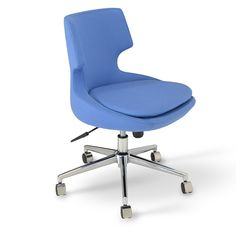 """Patara office is a distinctive chair with a comfortable upholstered seat and backrest on a height-adjustable gas piston base which swivels and tilts. The chair has a chromed steel five star base with plastic casters. The seat has a steel structure with """"S"""" shape springs for extra flexibility and strength. This steel frame molded by injecting polyurethane foam. Patara seat is upholstered with a removable zipper enclosed leather, PPM or wool fabric slip cover."""