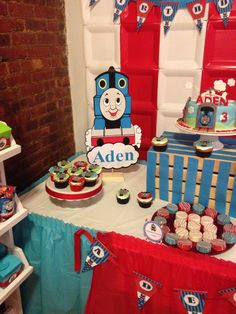 Love this backdrop at a Thomas the Tank Engine party!  See more party ideas at CatchMyParty.com!  #partyideas #train