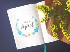'Hello April! ☀️ flowerwreath bullet journal spread for the beginning of the month