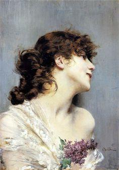 Giovanni Boldini (Italian 1842–1931) [Portraiture] Profile of a Young Woman.