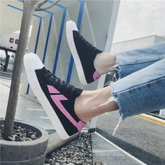 Comfortable Black and Pink Lace up Casual Canvas Shoes Hui Li Sneaker you best choice for School, Going out -TOP Design by FSJ