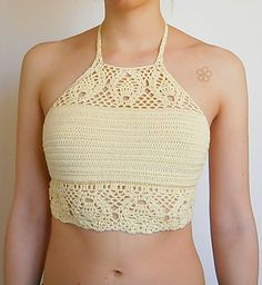 """This is the """"TROPICAL"""" crop top Crochet Pattern a boho lace festival top."""