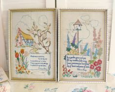 Beautiful pair of old embroideries.