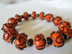 Halloween Bracelet Handmade Lampwork Bead by CapricesCreations, $15.00