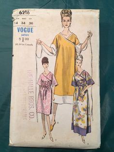 "Vogue 6216 1Pc Wrap Dress 1964 Loose fitting wrap dress in 3 lengths has ""V"" neckline & elbow length kimono sleeves.Uncut FF sld 18.5+1.99 10bds 2/22/17"