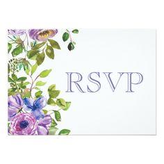 Spring Flower Purple Floral Wedding RSVP Card - purple floral style gifts flower flowers diy customize unique