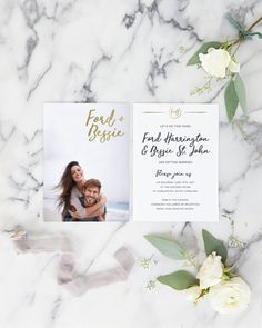 Our Gold Wedding Invitation with Photo is the perfect modern wedding invite, and features your photo on the front, and all of your custom details on the back.