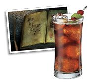 Haunted Harvest: 1 oz. Captain Morgan Original Spiced Rum or Captain Morgan's Private Stock 1 oz. cranberry juice ¼ oz. fresh lime juice 4 oz. cola Lime twist and a cherry