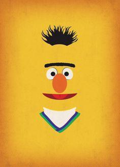 Nursery Decor Geek Art Bert Sesame Street Birthday by TheRetroInc Bert Sesame Street, Sesame Street Muppets, Sesame Street Characters, Sesame Street Party, Sesame Street Birthday, Sesame Streets, Minimalist Poster, Minimalist Art, Die Muppets