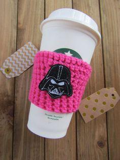 Darth eeVader Valentine's Crochet Cozy  Coffee or by Legit2Stitch