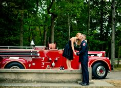 Engagement Session with firetruck  Mandy leonards Photography