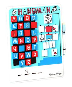 Keep little ones' minds active—especially during those long flights and drives—with this exciting Hangman-themed game. The set includes an erasable whiteboard and marker, and everything conveniently stores right inside the game.   CHOKING HAZARD: Small parts. Not for children under 3 years