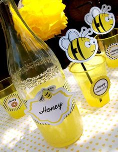 drinks: home-made lemonade, sweetened with honey and OJ, also for favors: pots of artisan honey, honey sweets and honey lip-balm (bert's bees?)