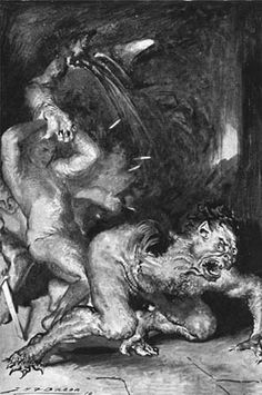 As Beowulf and Grendel struggle, Beowulf rips off the monster's arm.