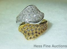 Genuine White Chocolate Diamond Pave 18K Two Tone Gold Bypass Cocktail Ring #Cocktail
