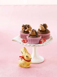 Lindt Chocolate Easter Cupcakes with Chocolate Buttercream Frosting.  Recipe on the blog!
