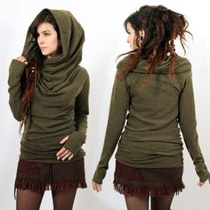 Enter the world of YGGDRAZIL : A dreamlike & poetic clothing brand named by one of the mystical names of « the Tree of life Capsule Wardrobe Women, Beige Jumpers, Pull Long, Style Boho, Boho Gypsy, Bohemian, Poses, Khaki Green, Spandex