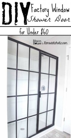 An inexpensive DIY update to make a basic shower door look like an industrial factory window. Find the tutorial at Remodelaholic.com.
