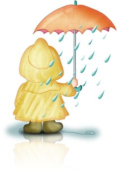 Image result for umbrella pouring rain kid clipart