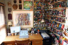 Andy's Nerd Cave Andy's Nerd Cave Studio Tour Zaha Hadid, Dungeon Room, Art Studio Storage, Comic Room, Game Room Kids, Game Rooms, Artist Workspace, Geek Room, Man Cave Diy