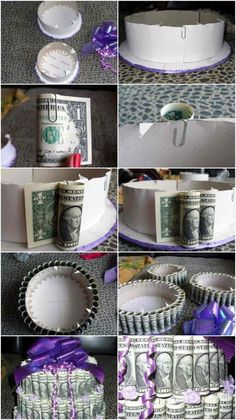 Creative Wedding Wrapping Money: 71 DIY Wedding Gift Ideas - Home Decorating More - Make a DIY cake out of money Informations About Hochzeitsgeschenk Geld kreativ verpacken: 71 DIY Hoc - Creative Wedding Gifts, Creative Money Gifts, Diy Wedding Gifts, Wedding Gift Wrapping, Diy Gifts, Gift Money, Unique Gifts, Money Birthday Cake, Money Cake
