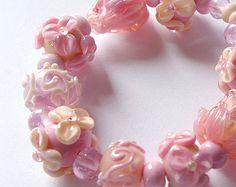 Handmade Lampwork Glass Bead Set, Pink Purple, Peach, bubble gum,  SRA