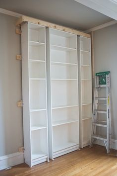 The Makerista: Laura's Living Room: Ikea Billy Bookshelves Hack - this is cool.