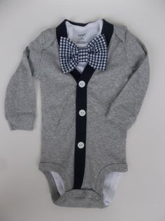 Baby Boy Grey Cardigan  Navy Gingham Bowtie   oh by groovyapplique, $35.00