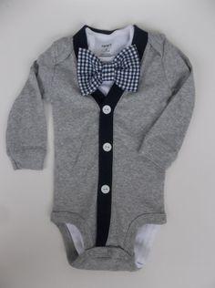 Baby Boy Grey Cardigan  Navy Gingham Bowtie   oh by groovyapplique, $35.00