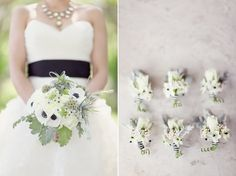 gorgeous bouquet and boutonnieres with black + white details