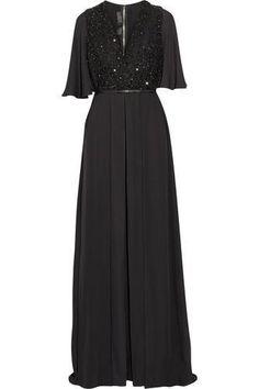 Embellished tulle-paneled silk-chiffon jumpsuit #allinone #covetme #eliesaab