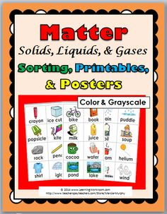 Matter - Sorting, Printables, and Posters (Color & Grayscale)