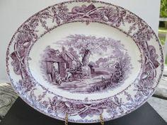12-Purple-Transferware-Platter-Children-Horses-Pastoral-Davenport-1840-Amethyst
