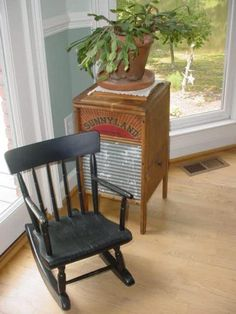 Washboard side table/cabinet with antique child size rocker...many house plants available too