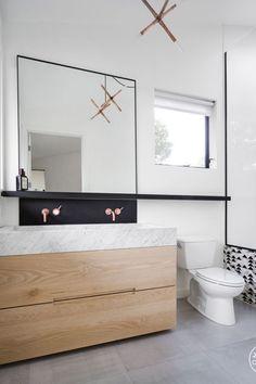 Paint Color: BM Simply White Mirror and Ledge: Custom Sink: Custom Vanity: Custom, built by CBM Woodworks