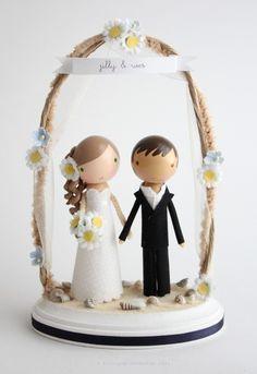 custom beach wedding cake topper  with arch by lollipopworkshop, $190.00