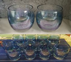 12 ROLY POLY Bar Cocktail Glasses RARE Blue by CoolOldStuffForSale $159